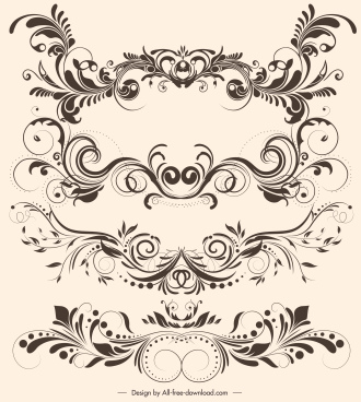 document decorative elements elegant vintage symmetric curves