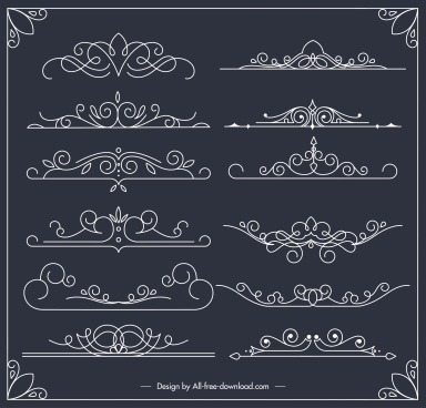 document decorative elements european symmetric handdrawn curves