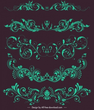document decorative elements green symmetrical swirled design