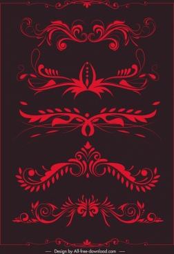 document decorative elements red symmetrical curves sketch