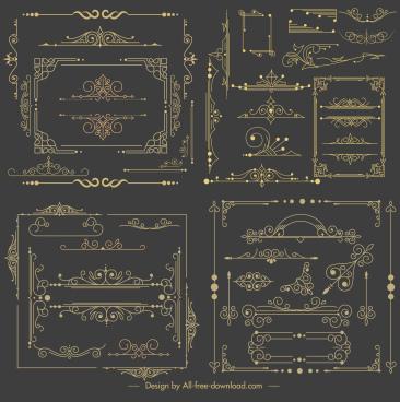 document decorative elements retro european design elegant symmetry