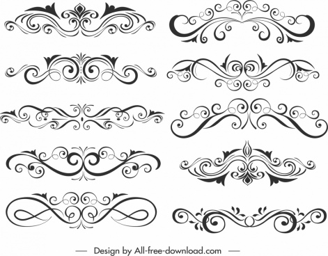 document decorative elements templates classical flat symmetric curves