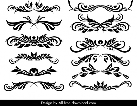 document decorative elements templates classical symmetric swirl decor