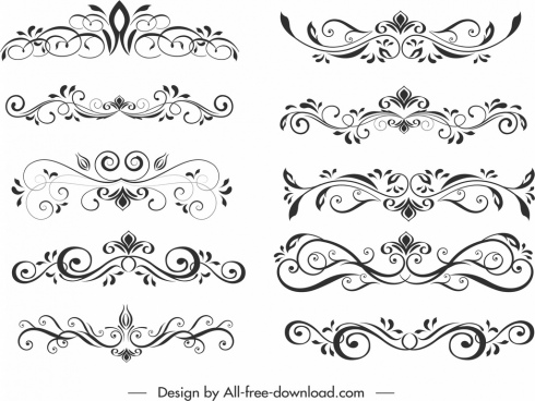 document decorative elements templates elegant classical symmetrical curves