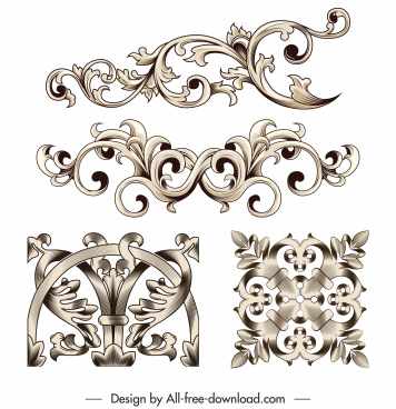 document decorative elements vintage elegant seamless symmetric curves