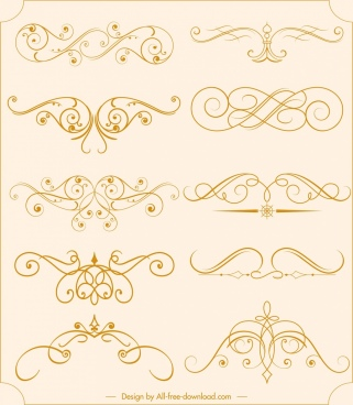 document decorative sets symmetrical swirled sketch