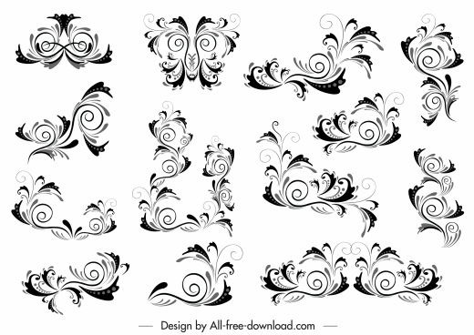 document decorative templates elegant classic curves sketch