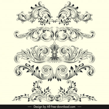 document decorative templates elegant classical european symmetric shapes