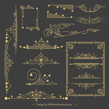 document decorative templates elegant dark retro symmetric shapes