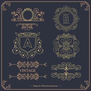document decorative templates elegant european symmetric seamless design