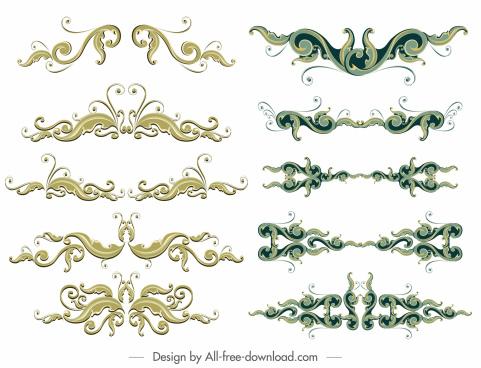 document decorative templates elegant vintage symmetric curves