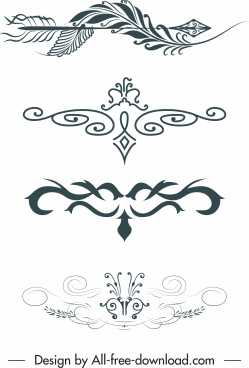 document decorative templates symmetric elegant retro sketch