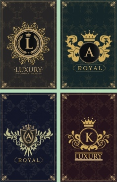 document decorative templates various royal logo decoration isolation