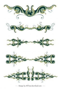 document decorative templates vintage design symmetric curved decor