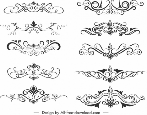 document design elements templates elegant classical symmetric swirl