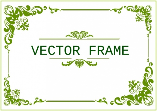 Delightful Document Frame Template Classical Green Curves Design