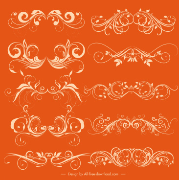 documents decorative elements collection elegant symmetrical swirled lines