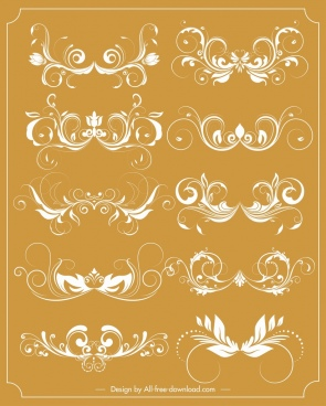 documents decorative sets classical symmetric curved sketch