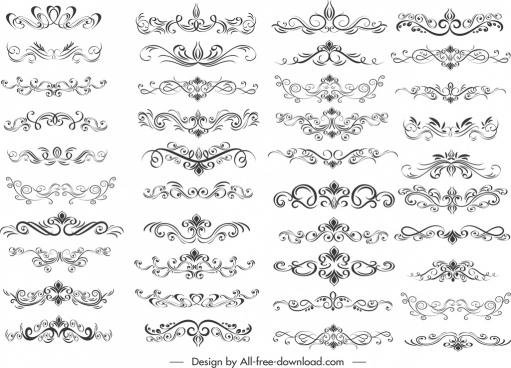 documents design elements collection elegant symmetrical swirled decor