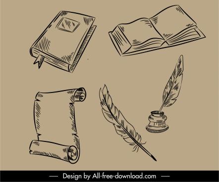 documents design elements retro handdrawn 3d sketch