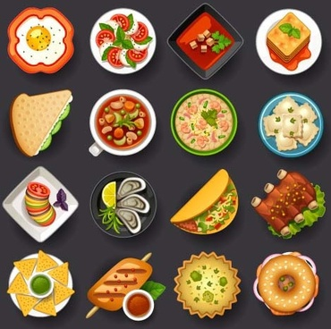 dofferemt food icons set vector