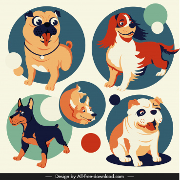 dog avatar icons cute cartoon sketch circle isolation