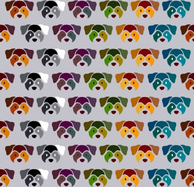 dog head background colored repeating decoration