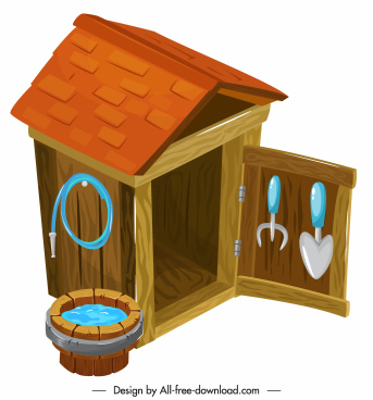 dog house icon colorful 3d sketch wooden decor