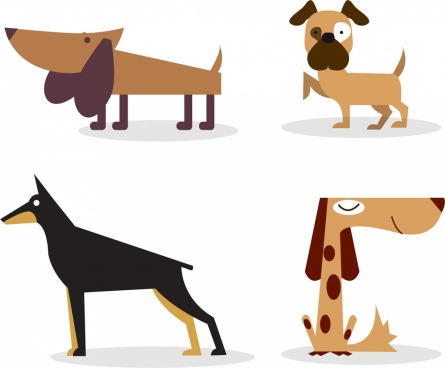 dog icons collection colored cartoon isolation