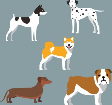 dog icons collections various colorful types