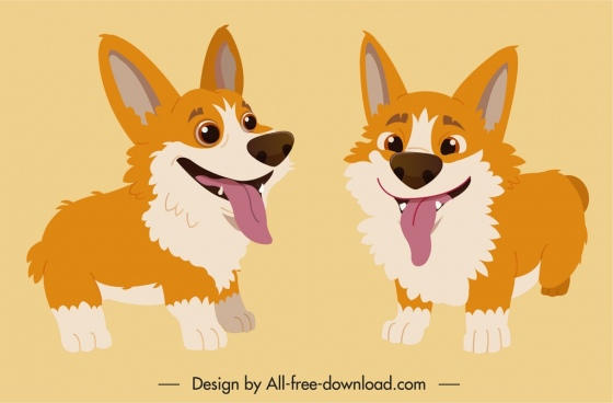 dog icons cute cartoon character sketch