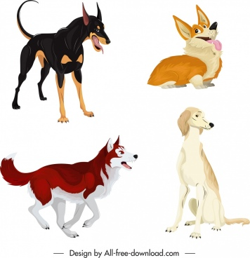 dog icons cute cartoon characters sketch