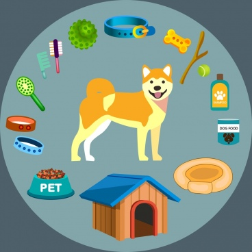 dog pet accessories icons 3d colored design