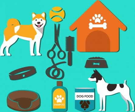 dog products design elements various colorful symbols