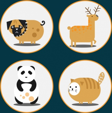 dog reindeer panda cat icons cute cartoon design