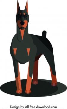 dog species icon dark black brown 3d design