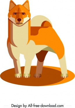 dog species icon orange 3d design