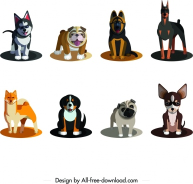 dog species icons colored cartoon sketch