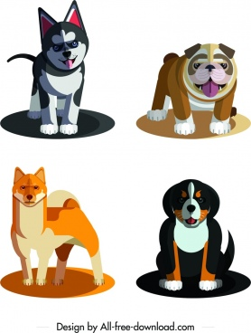 dog species icons cute cartoon characters