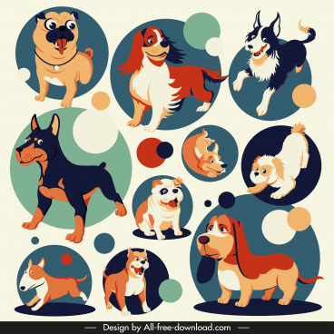 dog species icons cute cartoon design