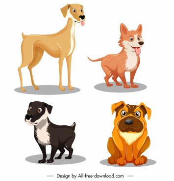 dog species icons cute cartoon sketch