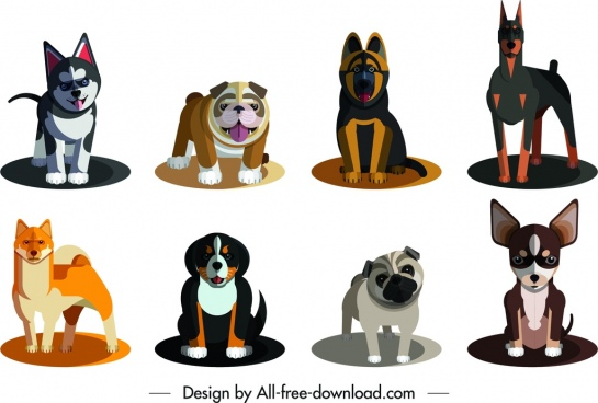 dog species icons cute colored cartoon design