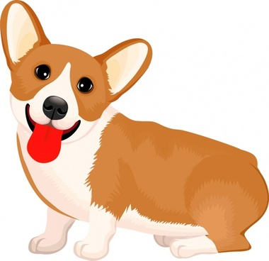 dog icon cute colored cartoon character