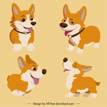 doggy icons cute cartoon sketch joyful gesture