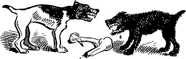 Dogs Fight Over Bone clip art