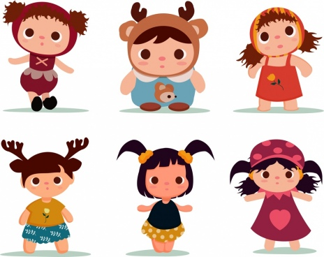 doll icons collection cute kids cartoon characters