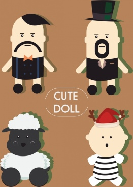 doll icons collection man sheep reindeer characters