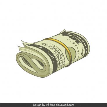 dollar money icon 3d sketch