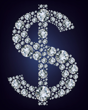 dollar sign with diamonds vector design