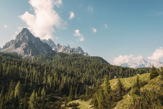 dolomites forest high hiking lake landscape mountain